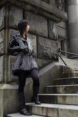 black rose fan fan jacket - blue vintage dress - black tu-tu - black boots