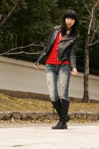banana republic jacket - calvin klein boots - jeans - accessories - cardigan