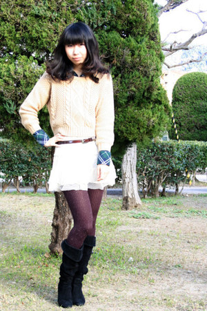 Ralph Lauren tights - ingni sweater - moussy shirt - skirt