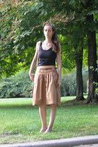 brown bag - black cotton shirt - camel cotton Promod skirt - tan Zara sandals