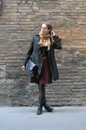 mustard scarf - black lace-up Zara boots - maroon skater Mint & Berry dress
