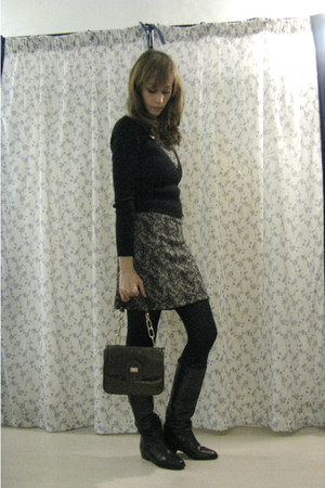 tan lace Promod dress - black leather vintage boots - dark brown Zara bag