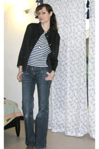 navy wide leg Camaïeu jeans - black Camaïeu jacket - white striped H&M shirt