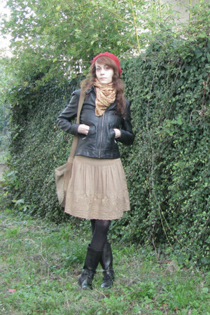 black faux leather Pimkie jacket - black lace-up Zara boots - ruby red beret hat