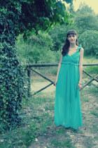 turquoise blue maxi Rinascimento dress - gold Zara sandals