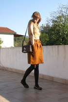 burnt orange vintage skirt - mustard Terranova shirt - brown H&M bag