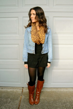 brown leopard print scarf - brown Apt 9 boots - blue denim jean Old Navy jacket