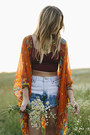 Blue-vintage-cut-off-frolic-shorts-orange-floral-frolic-cardigan