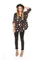black Frolic Vintage blouse