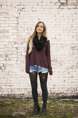 lace up vintage boots - knit H&M sweater - infinity cotton on scarf