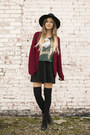 Black-ankle-gojane-boots-black-forever21-hat