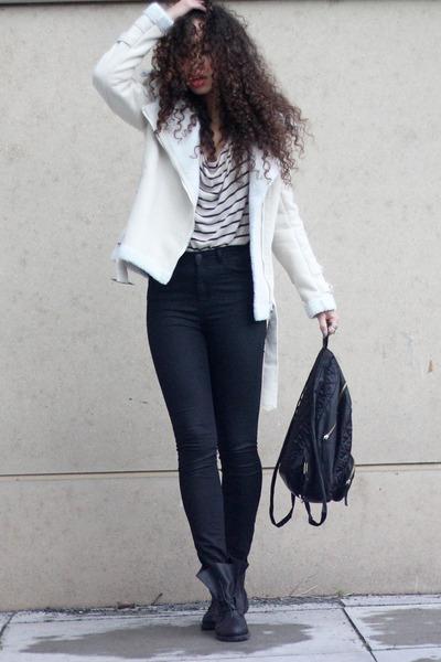 cream Choies coat - black Mostwanted boots - black just female jeans