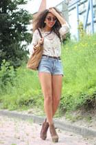Chicwish blouse - suede boho H&M bag - vintage shorts