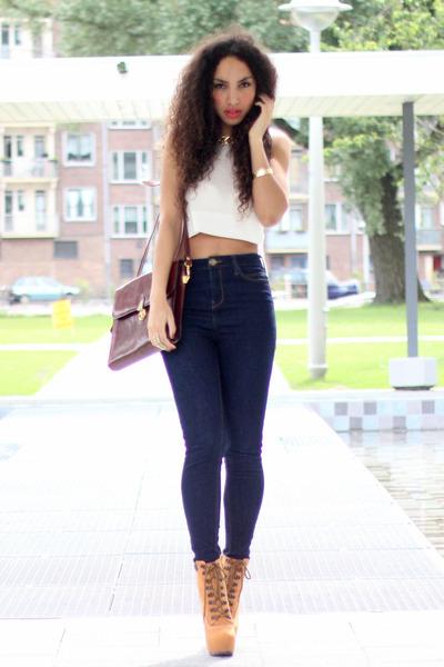 crimson vintage bag - navy River Island jeans - tawny GoJane heels