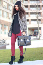 white vintage coat - black deezee boots - brick red just female jeans