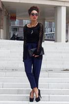 black Superstar sweater - black Ana Mar bag - black cat eye Primark sunglasses