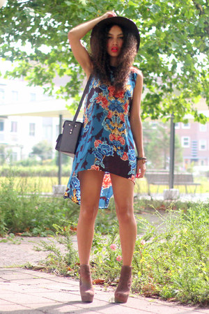 dark brown asos boots - blue inlovewithfashion dress - dark brown vintage hat