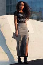 black new look shoes - white Primark bag - black Azuka t-shirt