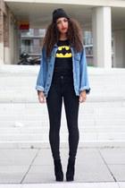 black high waisted asos jeans - black beanie Diesel hat - navy vintage jacket