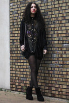 black Dolce Vita boots - black vintage dress - black Modemusthaves bag