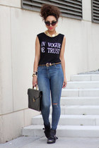 black Topshop shoes - navy ripped denim River Island jeans - black vintage bag