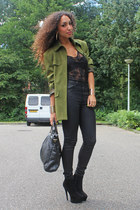 black just female jeans - dark green Sisley blazer - black SoNize bag