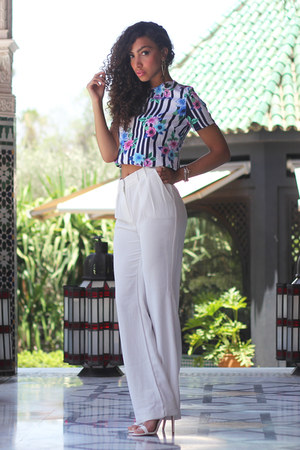 white Mango pants - blue Primark t-shirt - white Primark heels