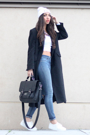 black wool maxi coat vintage coat - white H&M shoes - blue River Island jeans