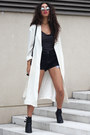 Black-new-look-boots-ivory-front-row-shop-coat-black-cut-off-vintage-shorts