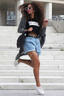 Light-blue-chicnova-shorts-white-primark-sunglasses-white-h-m-sneakers