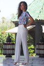 White-mango-pants-blue-primark-t-shirt-white-primark-heels
