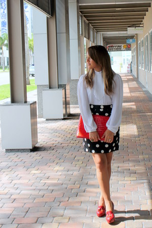 thrifted bag - Forever 21 loafers - thrifted skirt - thrifted blouse