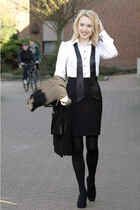 black Esprit coat - white H&M blouse - black high-waisted H&M skirt - black sued