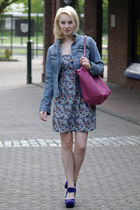 purple suede Marni heels - violet Vila dress - blue denim Esprit jacket