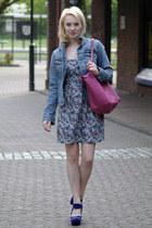 purple suede Marni heels - violet Vila dress - blue denim Esprit jacket