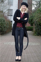 black hat - ruby red striped Tommy Hilfiger shirt - black cardigan - black suede