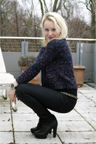 black Nelly shoes heels - black H&M jeans - navy 3-4 length Primark sweater