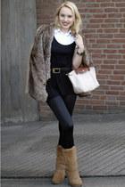 bronze Ugg boots - camel faux fur Zara jacket - black H&M shirt - black Vero Mod