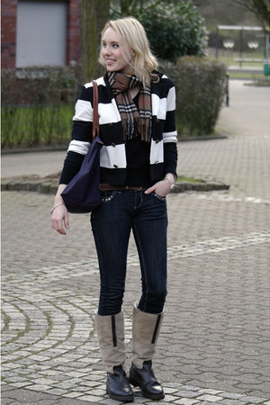 camel untzer boots - black striped H&M jacket - brown Burberry scarf - deep purp