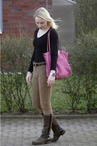 brown Tommy Hilfiger boots - hot pink longchamp bag - bronze Zara pants