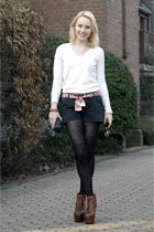 black lace H&M tights - crimson Jeffrey Campbell shoes - cream Zara sweater