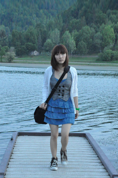white Forever 21 cardigan - gray Forever 21 vest - blue From China dress - brown