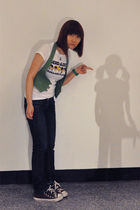 green From China vest - white Harajuku Lovers t-shirt - blue Zara jeans - brown