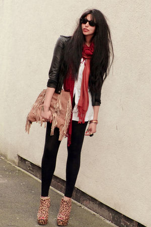 red Ebay scarf - gold Ashish for Topshop boots - black jacket - black leggings
