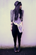 black vintage jacket - black yummywedges Office shoes - black DIY top