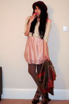beige H&M dress - beige vintage top - brown vintage jacket - brown Office shoes