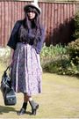 Black-asos-glasses-gray-vintage-hat-blue-cardigan-gray-vintage-dress-as