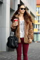 black Secondhand boots - light brown faux fur Zara coat - dark gray Mango bag