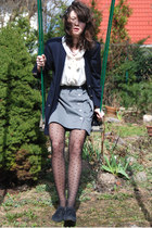 dark gray Zara shoes - navy New Yorker blazer - black dotted H&M tights - silver