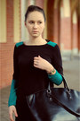 Dark-gray-zara-bag-teal-asos-dress-charcoal-gray-h-m-tights